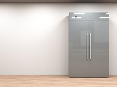 3d rendering fridge with side by side doors in empty room
