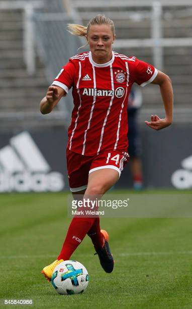 Fridolina Rolfo of Bayern Muenchen in action during the women Bundesliga match between Bayern Muenchen and SC Freiburg at Stadion an der Gruenwalder...