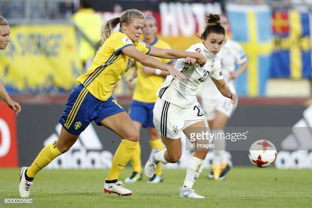 Fridolina Rolfo of Sweden women Lina Magull of Germany women during the UEFA WEURO 2017 Group B group stage match between Germany and Sweden at the...