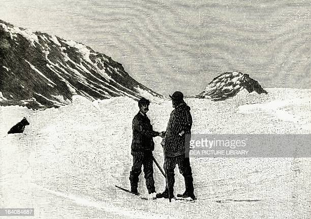 Fridtjof Nansen meets Frederick George Jackson 17 June 1896 Cape Flora Franz Josef Land engraving from a photograph of the North Pole expedition of...