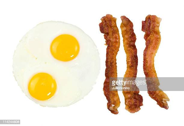 Fried Bacon strips and two eggs