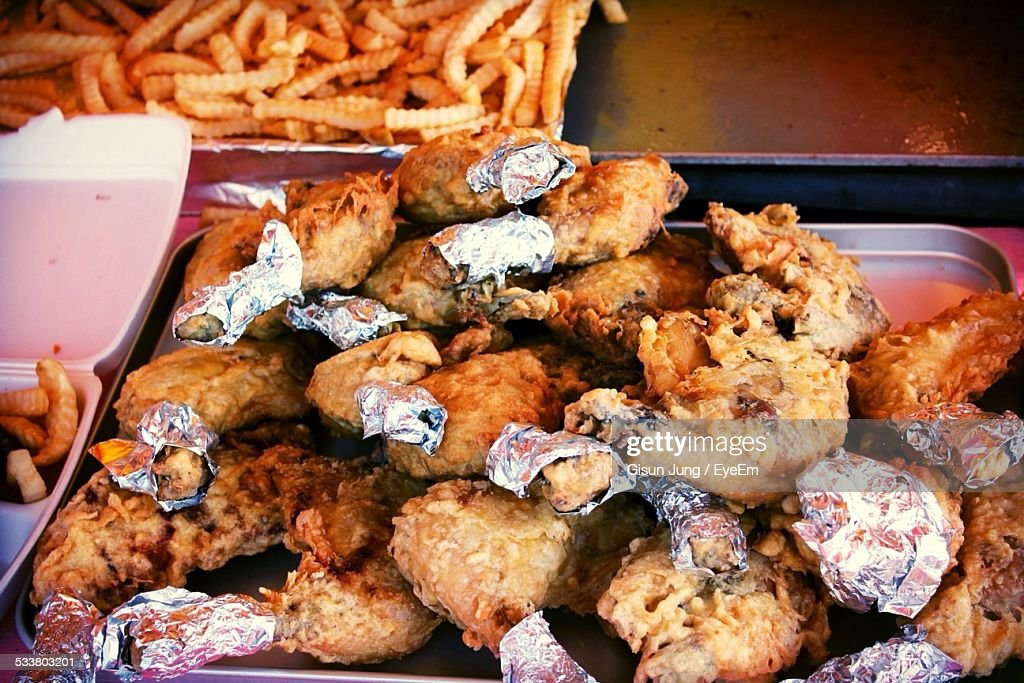 Fried Chicken Serving On Table
