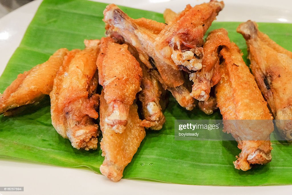 Asas de frango frito : Foto de stock