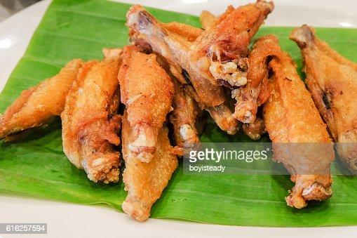 Alas de pollo frito : Foto de stock
