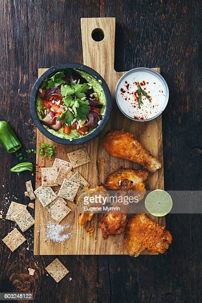 Fried chicken with guacamole
