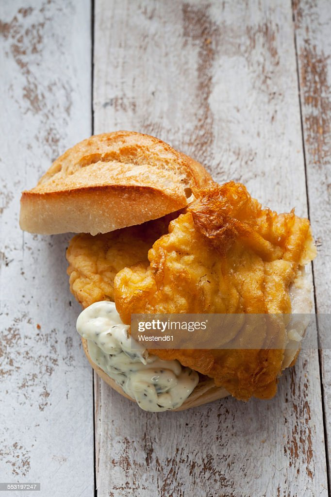 Fried coalfish sandwich with remoulade