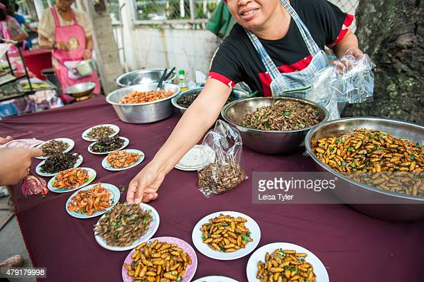 Fried cockroaches cicadas and other wood grubs for sale at a night market set up long the Mekong River in the Issarn town of Nong Khai