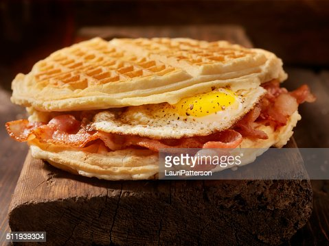 Fried Egg and Bacon Waffle Sandwich