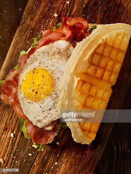 Fried Egg, BLT Waffle Sandwich