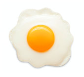 single fried chicken egg isolated on white background
