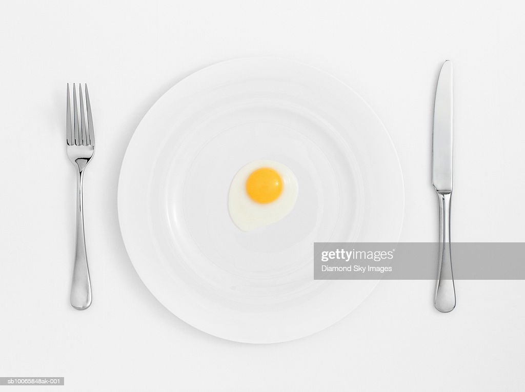 Fried egg on plate with knife and fork, close-up