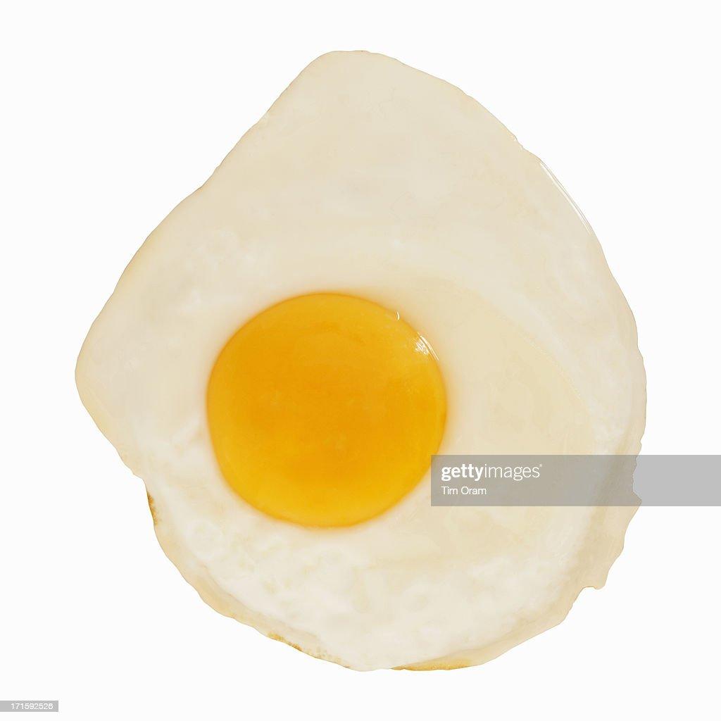 A fried egg on white