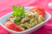 Fried eggplant puree salad appetizer turkish cuisine