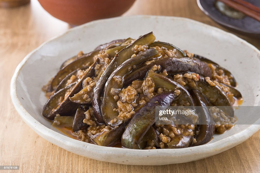 Fried Eggplant with Chili Sauce : Stock Photo