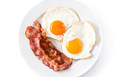 Fried eggs and bacon for breakfast isolated on white background.