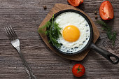 Fried eggs in a frying pan. Food. Breakfast. Healthy food