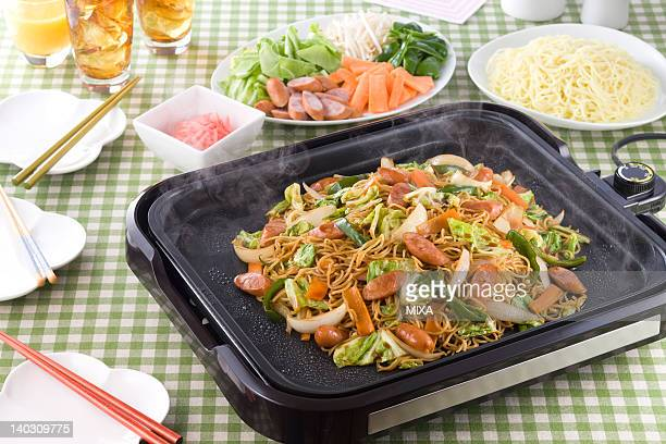 Fried Noodles on Hot Plate