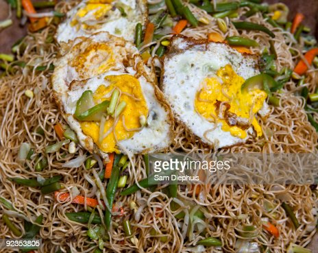 Fried Noodles with Eggs : Stock Photo