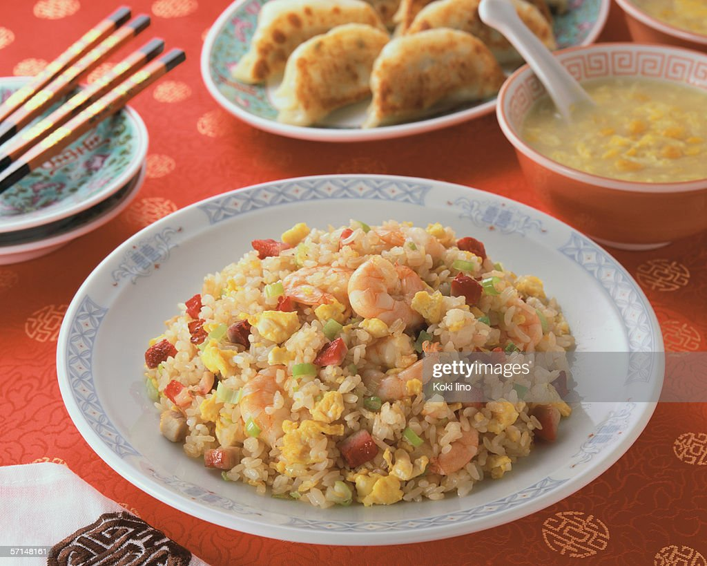 Fried Rice with corn soup and fried dumplings : Stock Photo