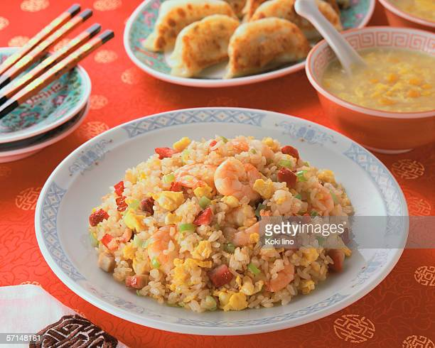 Fried Rice with corn soup and fried dumplings
