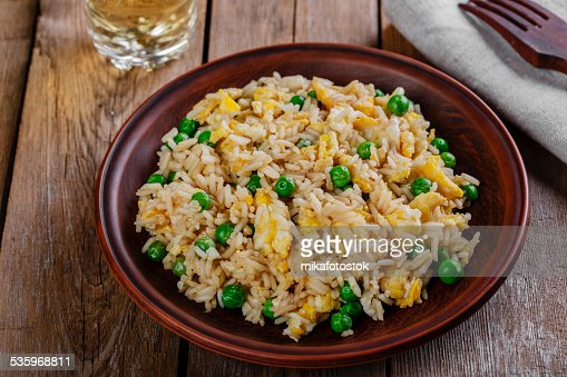 fried rice with egg and peas : Stock Photo