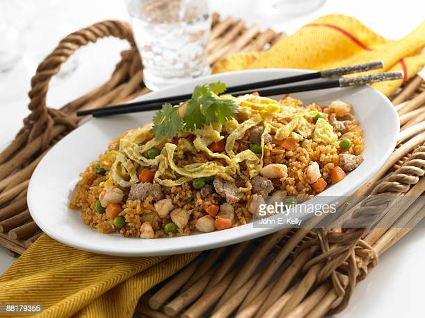 Fried rice with eggs and vegetables