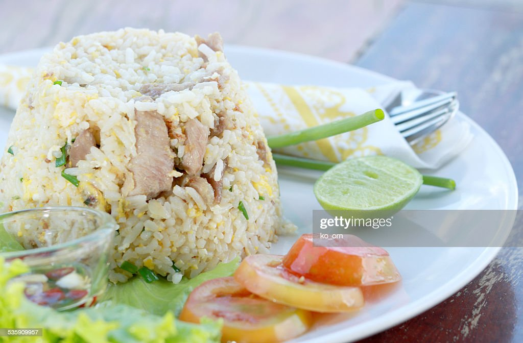 Fried rice with pork : Stock Photo