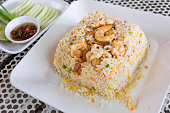 fried rice with shrimps, Thai food.