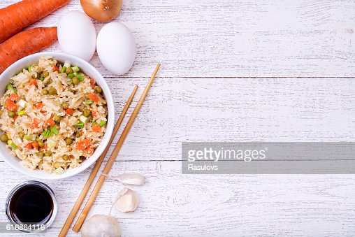 Fried rice with vegetables and eggs. : Stock Photo
