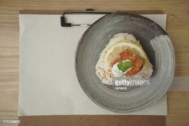 Fried salmon rice ball