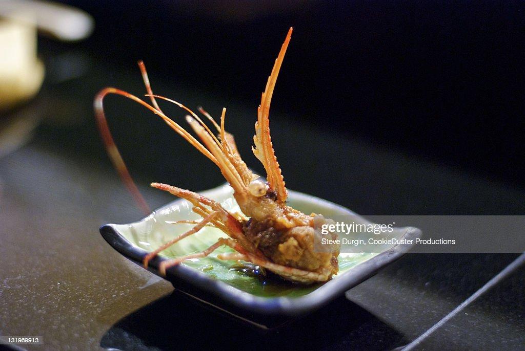 Fried shrimp head : Stock Photo