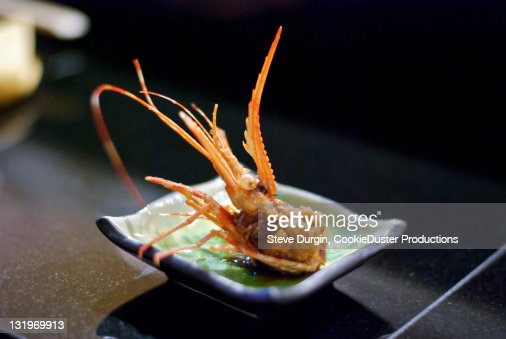 Fried shrimp head : Stock Photo