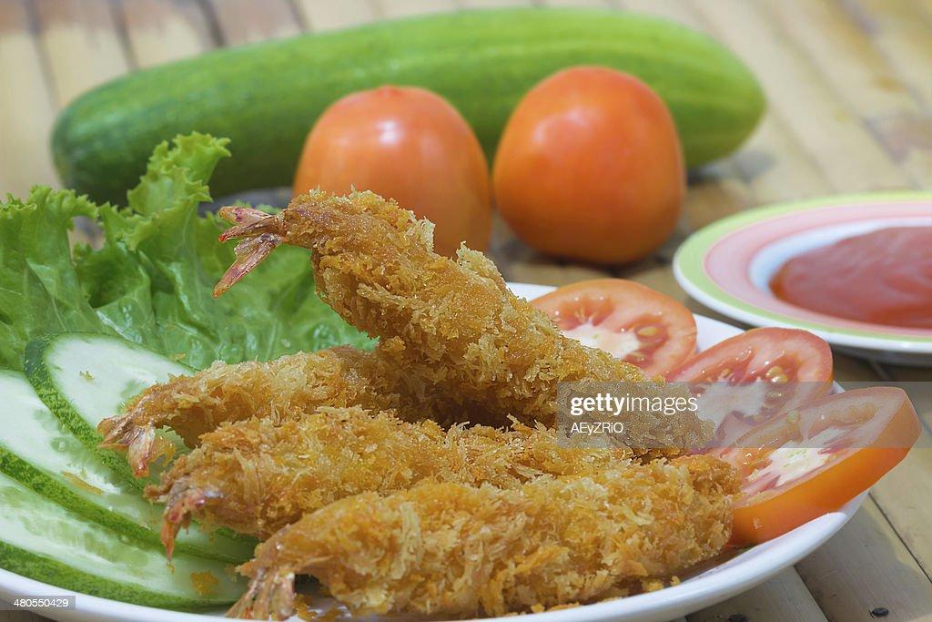 Camarão Frito : Foto de stock