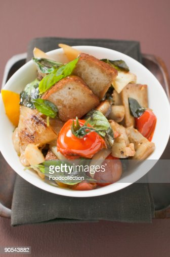 Fried tofu with vegetables, elevated view : Stock Photo