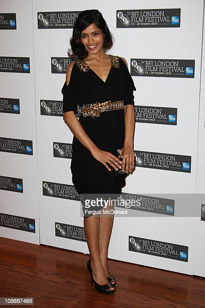 Frieda Pinto attends the premiere of Miral at the 54th BFI London Film Festival held at The Vue Leicester Square on October 18 2010 in London England
