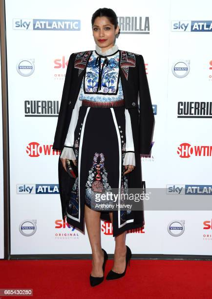 Frieda Pinto attends the UK Premiere of 'Guerrilla' at The Curzon Bloomsbury on April 6 2017 in London England