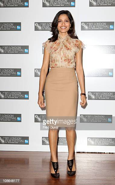Frieda Pinto promotes the film 'Miral' at the 54th BFI London Film Festival at Vue West End on October 18 2010 in London England
