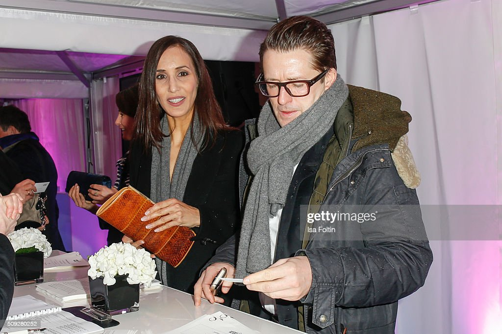 Friederike Dirscherl and Bruno Eyron attend the Montblanc House Opening on February 09, 2016 in Hamburg, Germany.