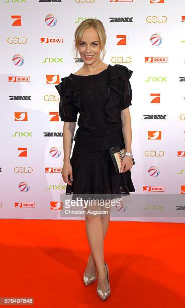Friederike Kempter attends the photo call for the 2016 programme presentation of TV broadcasters ProSiebenSat1 Media at Cinemaxx Dammtor on July 13...