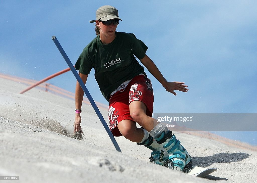 Friederike Krepela of Germany trains on the Slalomcourse during the Sandboarding World Championship 2007 at the Monte Kaolino on July 14, 2007 in Hirschau, Germany.