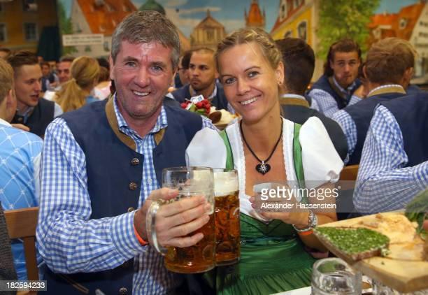 Friedhelm Funkel head coach of 1860 Muenchen attends with Anja Stapel the 1860 Muenchen Oktoberfest 2013 at Hacker Festzelt on October 1 2013 in...