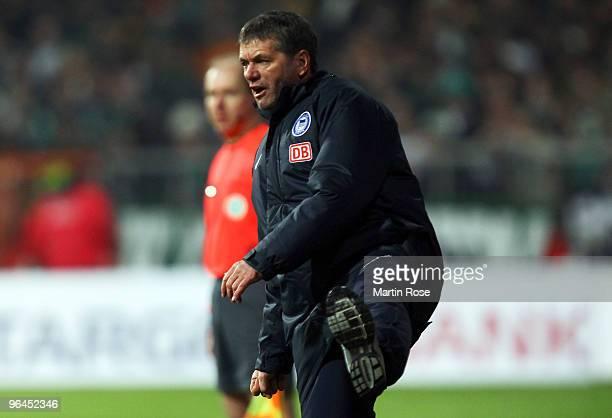 Friedhelm Funkel head coach of Berlin reacts during the Bundesliga match between Werder Bremen and Hertha BSC Berlin at the Weser stadium on February...