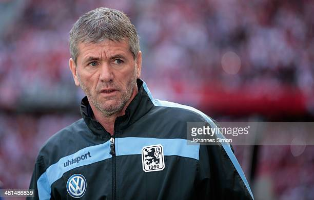 Friedhelm Funkel head coach of Muenchen looks on ahead of the Second Bundesliga match between TSV 1860 Muenchen and 1 FC Koeln at Allianz Arena on...
