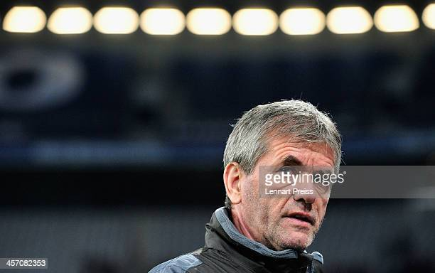 Friedhelm Funkel head coach of Muenchen looks on prior to the Second Bundesliga match between TSV 1860 Muenchen and FC St Pauli at Allianz Arena on...