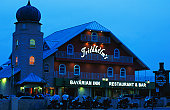 Friedhelm's Bavarian Inn, exterior, at dusk.
