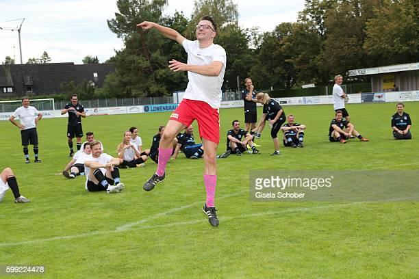 Friedrich Muecke jumps during the charity football game 'Kick for Kids' to benefit 'Die Seilschaft zusammen sind wir stark eV' at the Prof Ernst...