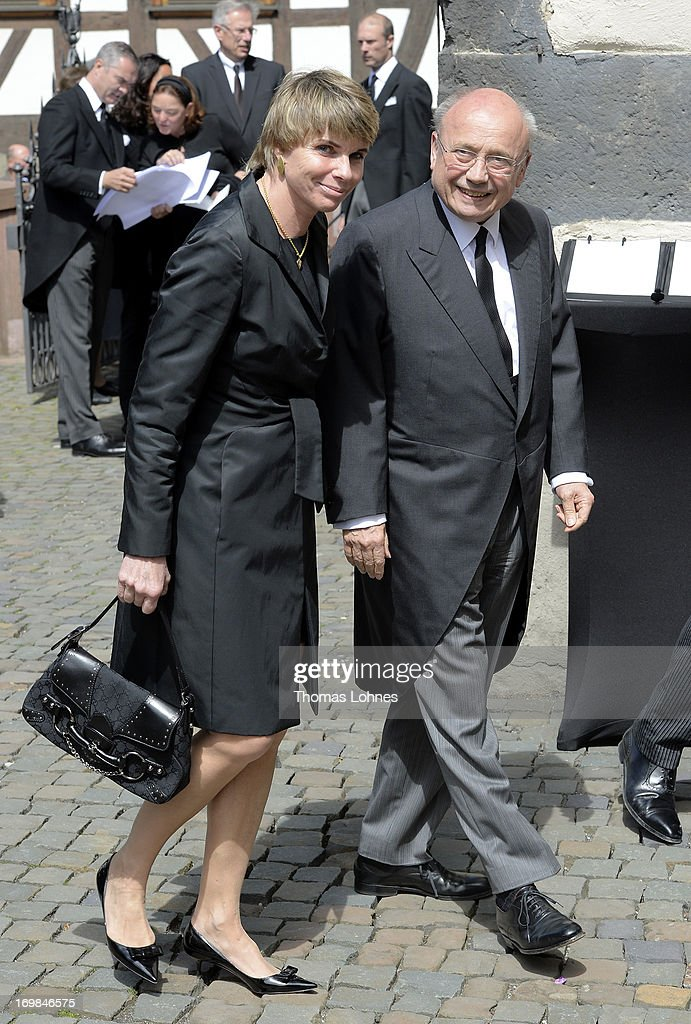 Friedrich von Metzler and his wife Sylvia attends the funeral service for Moritz Landgrave of Hesse at Johanniskirche on June 3, 2013 in Kronberg, Germany. Moritz of Hesse died aged 86 years on May 23 in Frankfurt. A great-grandson of the Emperor Frederick III and great-grandson of Queen Victoria, he was related to many European royal families.