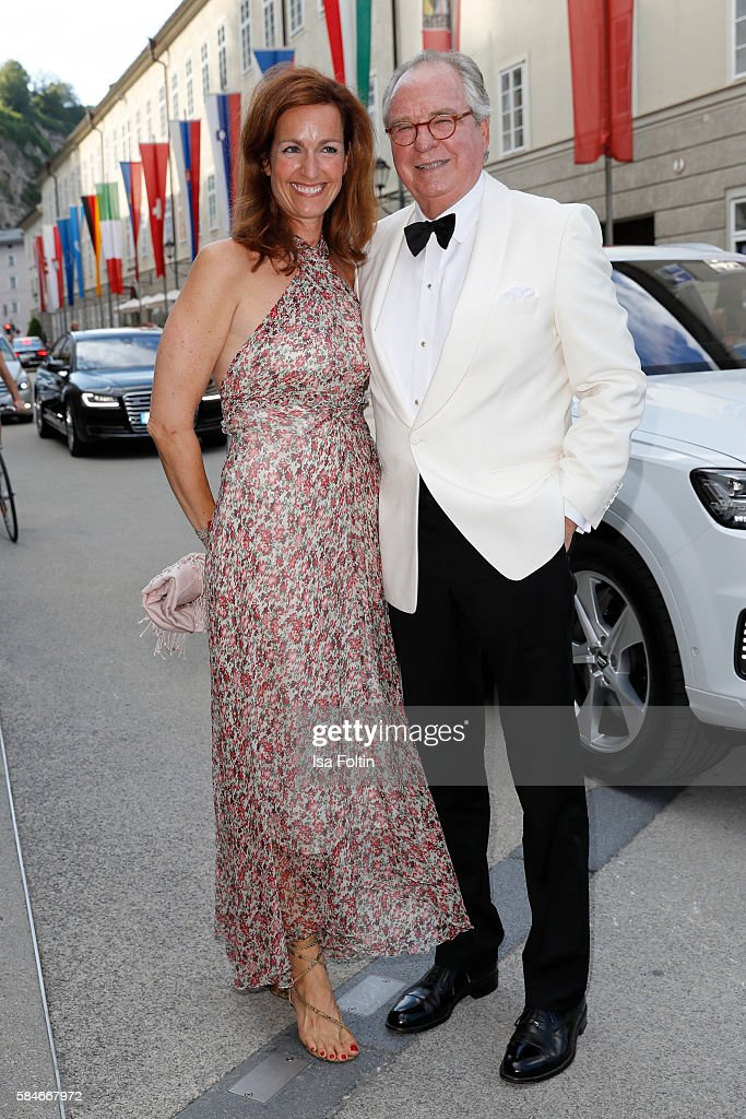 Friedrich von Thun and his daughter Gioia von Thun attend the premiere of the opera 'Cosi Fan Tutte' on July 29 2016 in Salzburg Austria