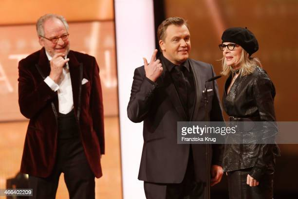 Friedrich von Thun Hape Kerkeling and Diane Keaton attend the Goldene Kamera 2014 at Tempelhof Airport on February 01 2014 in Berlin Germany
