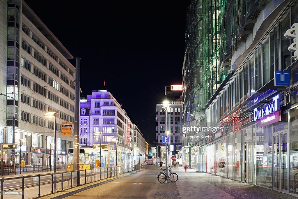 Friedrichstrasse at night, Berlin : Stock Photo